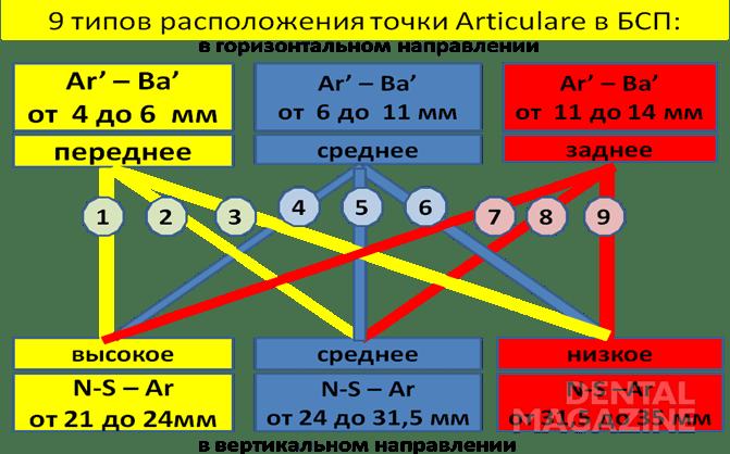 Рис. 3. Девять типов расположения точки Articulare в БСП в горизонтальном и вертикальном положении.